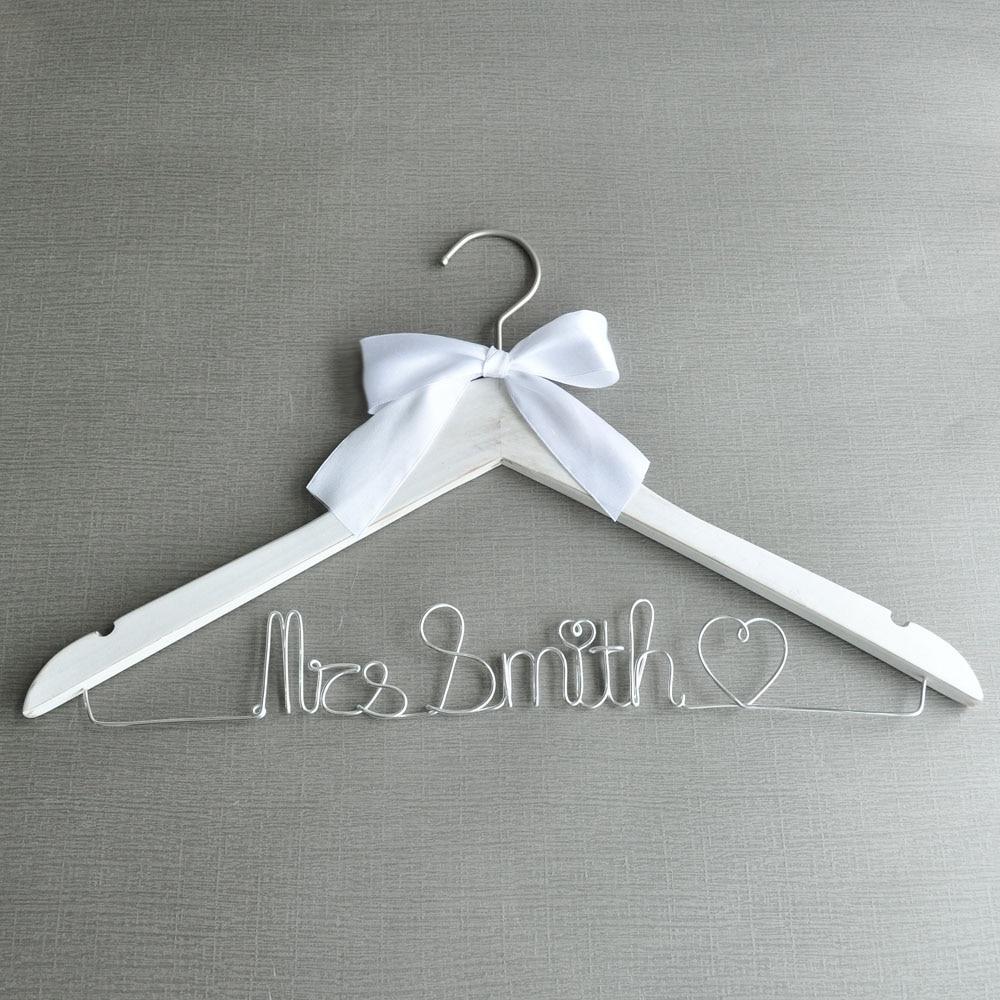 White Wedding Dress Hanger: Rustic White Color Wedding Dress Hanger,Personalized Name