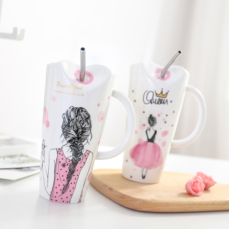 Милая керамическая чашка для девочек 450 мл, фарфоровая кофейная кружка с соломой, женские домашние чашки для молока, чая, сока, подарок на ден...