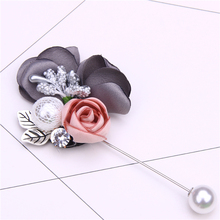 fabric rose flower pins and brooches for women rhinestone pearl brooch pin metalico metal leaf broche