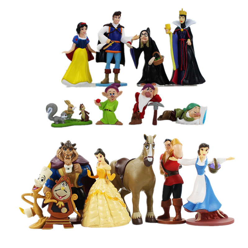 3-15cm Sleeping Beauty And The Beast Snow White And The Seven Dwarfs Princess Queen Witch Princess Action Figure Model Toys