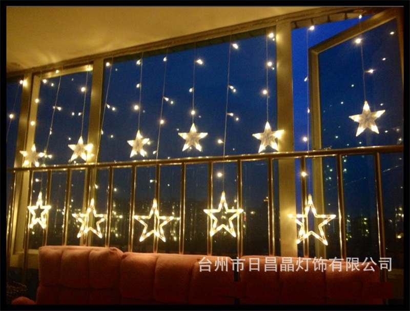 US/EU Waterproof 110-220V New Year LED Star Party Fairy Wedding String Lights Valentine Day Gift Home Decor 12pcs Stars 138Led