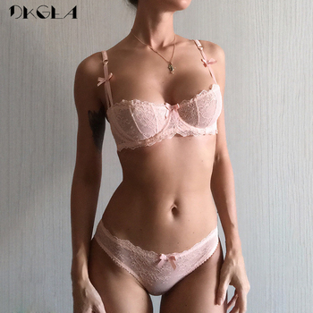 Ultrathin Sexy Lace Embroidery Bow Bra Set