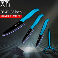 XYj ABS TPR Handle Ceramic Knives For Kitchen Sharp Peeler High Grade Black Blade 3 Inch