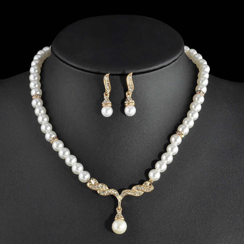Thời Trang mới Rhinestone Simulated Trang Sức Ngọc Trai Set Cho Phụ Nữ Thanh Lịch Bạc Mặt Dây Chuyền Vàng Necklace & earrings Hign Đồ Trang Sức Chất Lượng