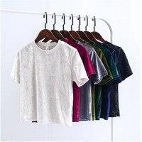 Sommer Chic T Shirts Zurück Slit Kurzarm Velour T-shirt Neue frau einfarbig O neck Samt T Tops 7 farbe Casual stil