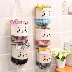 Настенный подвесной органайзер из хлопка и льна, карманная сумка для хранения с рисунком кота, карман для косметики, контейнеры для хранени...