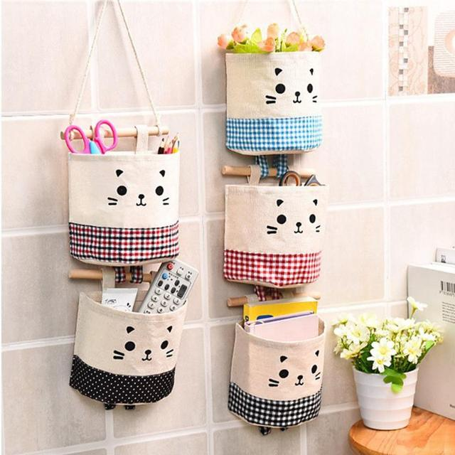 Fabric Cotton Linen Pocket Storage Wall Hanging Bags Pockets Organizer For Cosmetics Storages Containers