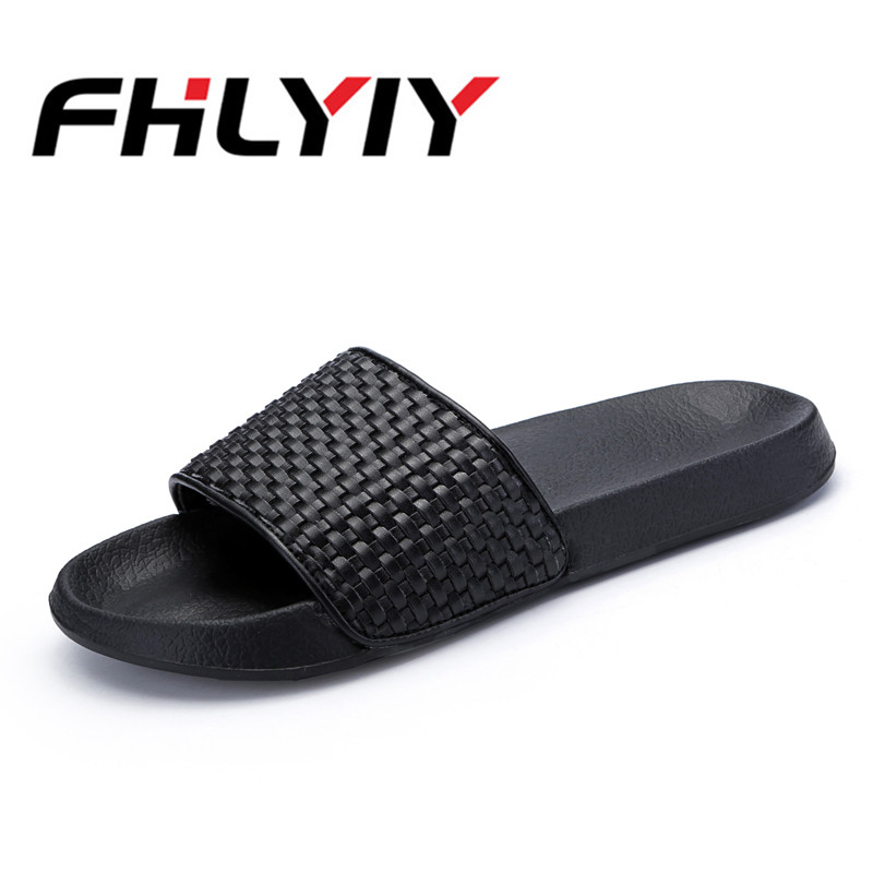 Men Black Plus Size 40-45 Handmade Woven Sandals Male Summer Breathable Slippers Solid Color Out Home Footwear Beach Casual Shoe