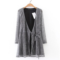 Women Sparkling Sexy Silk Low Female Vintage Sexy Bling Spring Long Sleeve Club Girl Evening Party