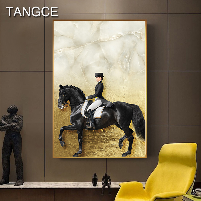 Abstract Golden Horse Knight In Black Cloth Canvas Art Expensive Poster Luxurious HD Wall Pictures for Living Room Tableau Salon