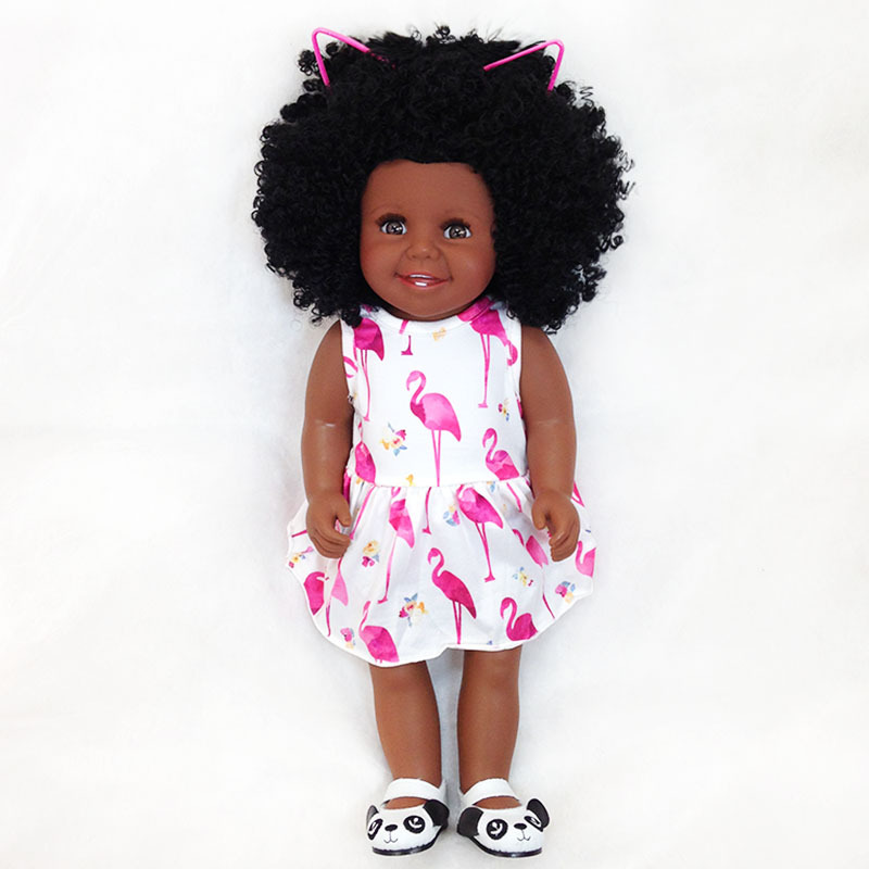 45cm/18 Inch American Princess vinyl newborn Doll black skin collectible Doll Babies modeling doll Doll Kids Birthday gifts45cm/18 Inch American Princess vinyl newborn Doll black skin collectible Doll Babies modeling doll Doll Kids Birthday gifts
