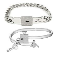 Romantic His Hers Love Heart Key Lock Matching Bracelets Bangle Lovers Gifts