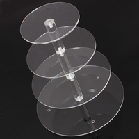 Hot Brand New Assemble And Disassemble Round Acrylic 4 Tier Cupcake Cake Stand For Birthday Wedding