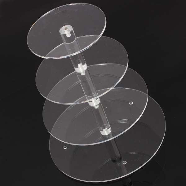 Hot Brand New Assemble and Disassemble Round Acrylic 4 Tier Cupcake Cake Stand For Birthday Wedding Party Cake Shop Home