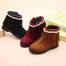 Girls boots autumn and winter 2019 new Quality girls tassel children Martin warm snow cotton shoes Zip