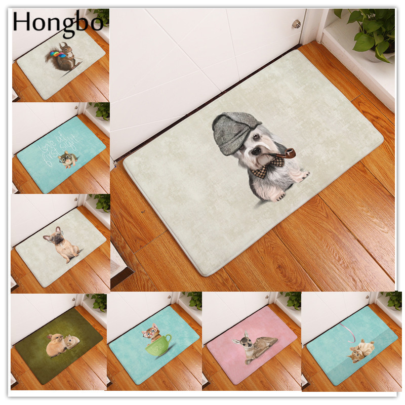 Hongbo Animal Anti-Slip Door Mat Cute Cartoon Dog Hamster Deer Carpets Bedroom Rugs Decorative Stair Mats Home Decor Crafts