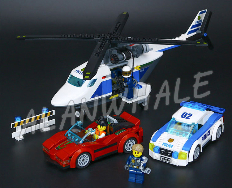 317pcs City Police High-Speed Chase Helicopter Racing Cars 02018 Model Building Blocks Children Gifts sets Compatible With Lego
