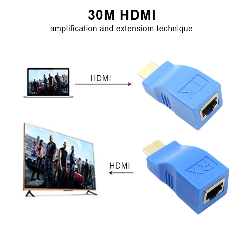 Kebidu HDMI Extender to RJ45 LAN Network Extension Transmitter Receiver TX RX Cat5e CAT6 Ethernet Cable V1.4 30m 4K HD TV 1080P hdmi extender rj45