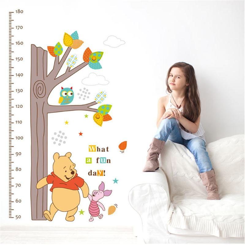 Winnie The Pooh Wall Stickers Children Height Measure Growth Chart Tree Kids Bedroom Home Decor Mural Decal