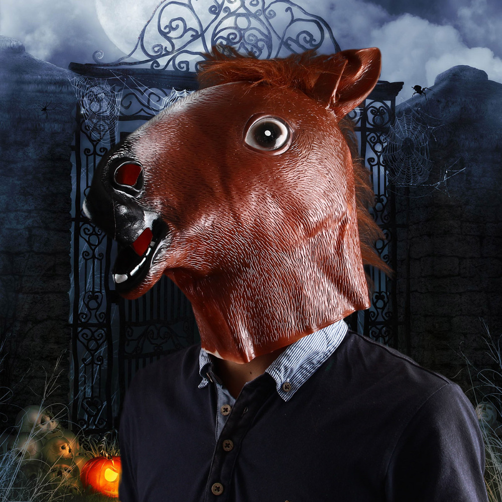 Funny Real Horse Head Halloween Party Mask-in Party Masks from ...