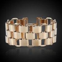 Для женщин широкий Браслеты для Для женщин S Нержавеющаясталь Уникальный Золотой Цвет толстые цепи ссылка браслет для женских украшений