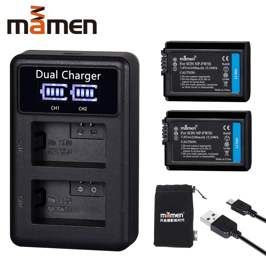 2 pièces 2100mAh NP-FW50 NP FW50 batterie d'appareil photo numérique + LCD USB double chargeur pour Sony NEX-3 a7R Alpha a6500 a6300 a6000 a5000 a3000