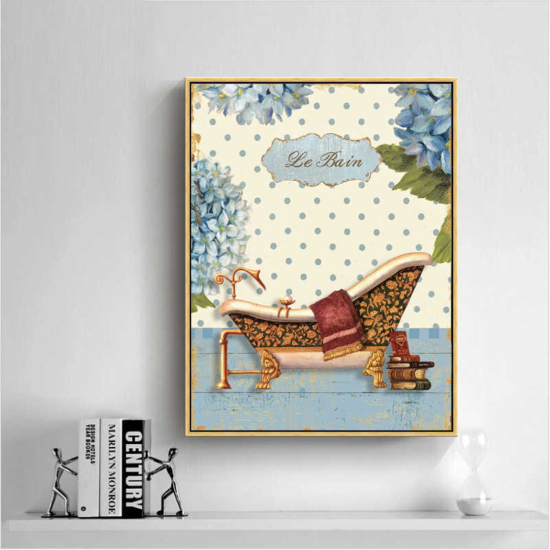 Nordic Home Decoration Posters And Prints Pastoral Bathroom Landscape Cartoon Canvas Paintings Wall Art Pictures For Bedroom