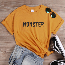 ONSEME Newest Harajuku Tops Monster Letter Print T Shirt Female Halloween Shirts Basic Cotton Tshirt Vintage Style Tees