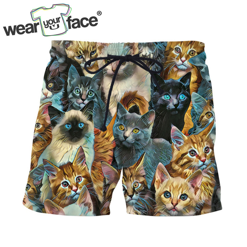 Beach-Shorts Loose Mens Bermuda Panting Us-Size Summer Fashion 3D Print Homme Cats All-Over-Printed
