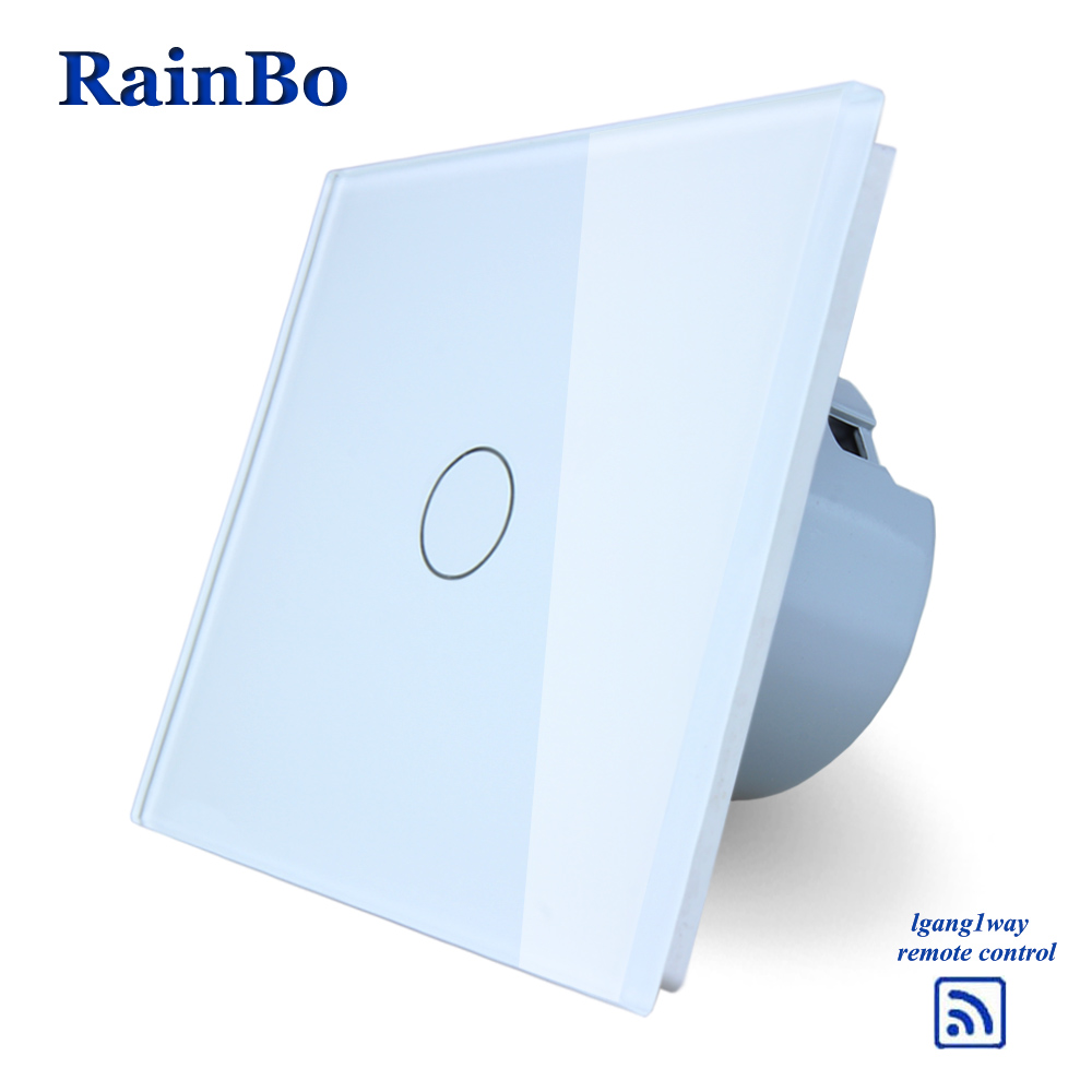 RainBo Crystal Glass Panel Switch EU Wall Switch  Remote Touch Switch Screen Wall Light Switch 1gang1way for LED lamp A1913CW/B mvava 3 gang 1 way eu white crystal glass panel wall touch switch wireless remote touch screen light switch with led indicator