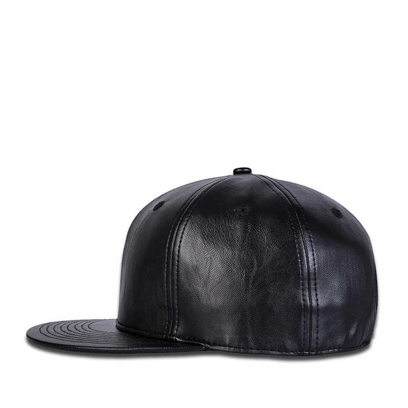2019 جديد رجل إمرأة الصلبة الأسود قبعة بيسبول جلد الخريف snapback قبعة الهيب هوب أغطية الرأس الرجال النساء الكبار في الهواء الطلق عارضة كاب