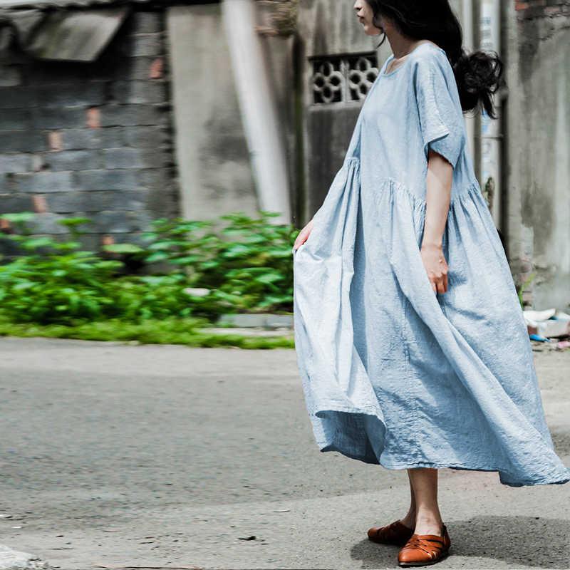 Johnature Women Cotton Linen Dress Fold 2019 Summer New Short Sleeve O-Neck Loose Pink Light Blue Casual Robes Brief Dress