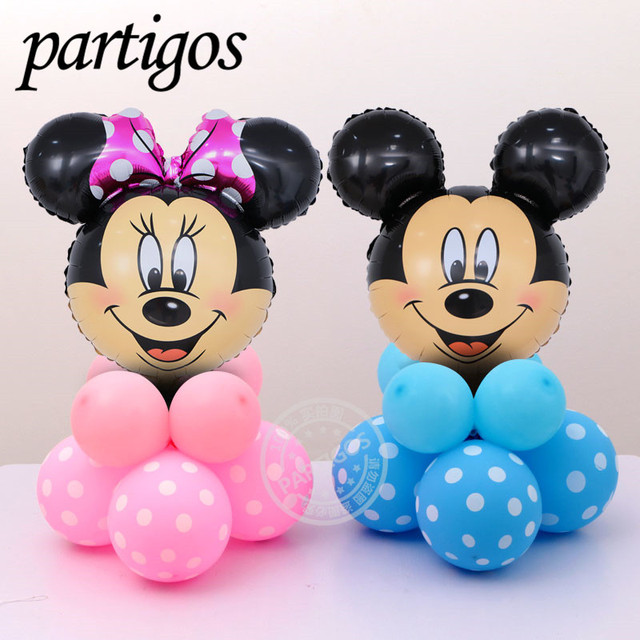 12pcs/lot Minnie and Mickey mouse Head Foil upright Balloons Helium Cartoon mickey latex 2.8g Balloons for Party decorations