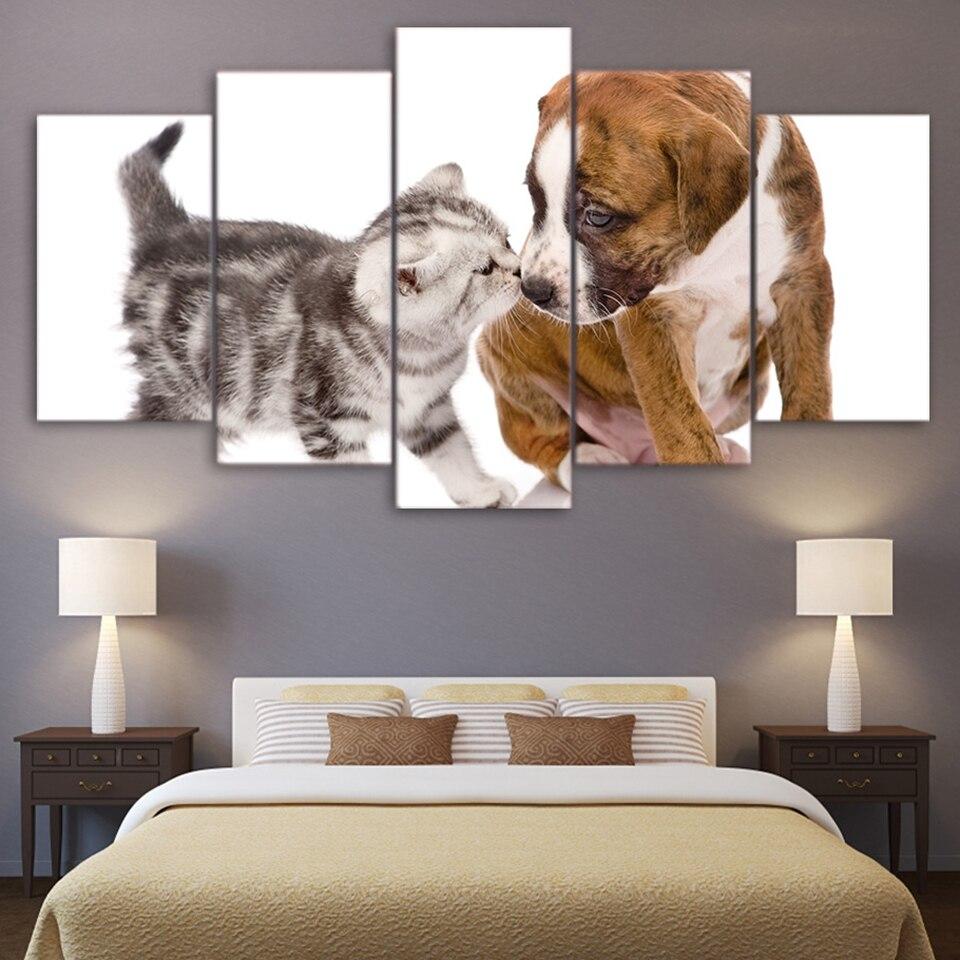 US $5 96 OFF Modern Kanvas Dekorasi Rumah Lukisan Wall Art Gambar Hewan 5 Pieces Anjing Lucu Ciuman Cat Ruang Tamu Poster HD Foto Dicetak