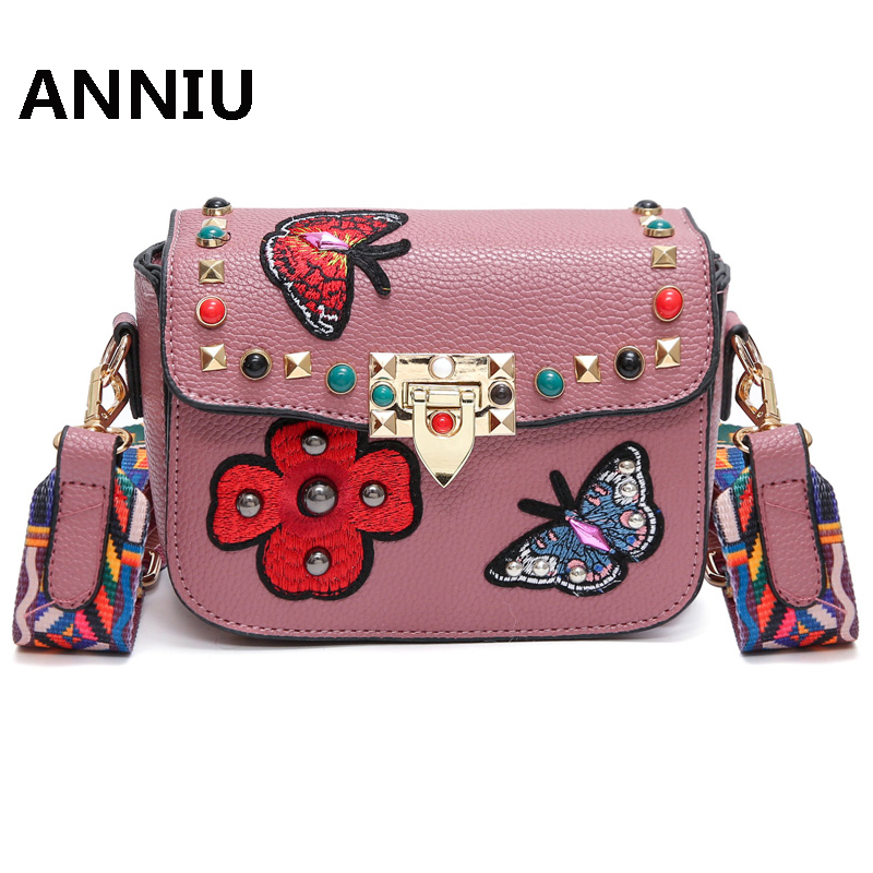 bd0c8230383 US $16.74 44% OFF|ANNIU Fashion famous brand butterfly shoulder bag woman  PU leather Rivet Embroidery small Flap female designer crossbody bag -in ...