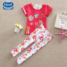NEAT 2016 summer baby girl suit set flower short sleeve T-shirt floral cotton embroidered pant girl suit baby girl clothes TS220