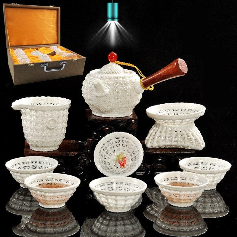 Kreative Hand woven Porzellan tee set Exquisite hohl keramik Kung Fu tee set Dehua weißem porzellan tee set hohe ende tee geschenk