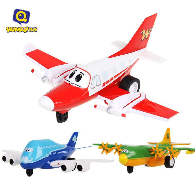2018 Newest Toy Cartoon Pull Back Car plane toys with sound and light for kids toys include battery BO Plane electric toys