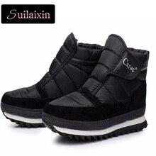 Russland Plus Größe Frauen Winter Stiefeletten Schwarz Schnee Pelzstiefel Wasserdichte Plattform Schuhe Weibliche Slip On Warme Plüsch Flachen Boot