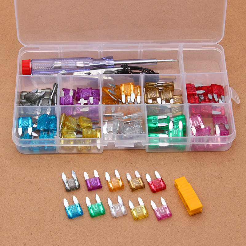 100PCS Auto Car Blade Fuse Automobile Security Fuses Standard Assortment with Electrical Test Pen Kit Using For Small-sized Car
