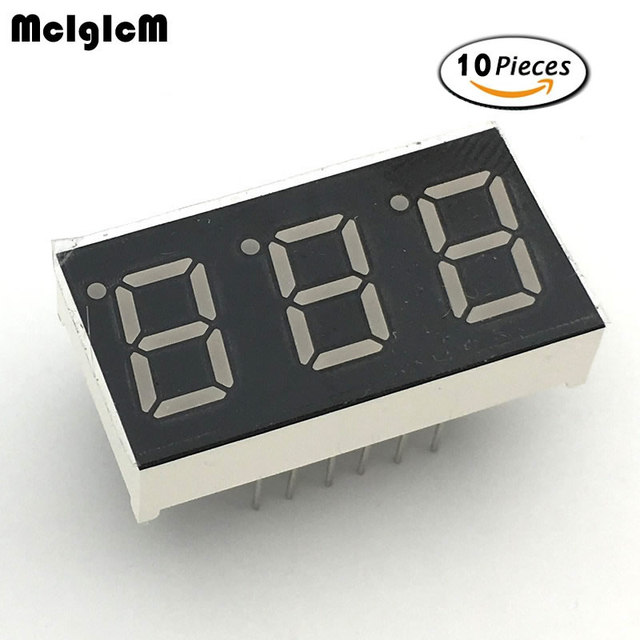 """MCIGICM 10 шт общий анод 3 битовая цифровая трубка 0,4 """"0.4in. Красный светодиодный Дисплей 7 segmentos светодиодный цифровой трубки"""