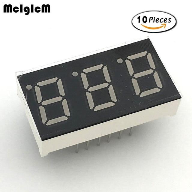 """Mcigicm 10 шт. 7 сегмент общий анод 3 Бит Цифровой Tube 0.4 """"0.4in. Красный светодиод Дисплей 7 segmentos светодиодный цифровой трубки"""