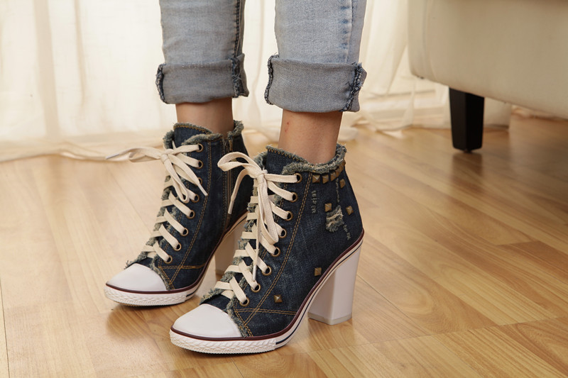 Chaussure Femme 2019 Rivet Studded Blue Denim Shoes High Heels Stylish Cross Tied Ladies Shoes High Square Heel Designer Pumps in Women 39 s Pumps from Shoes