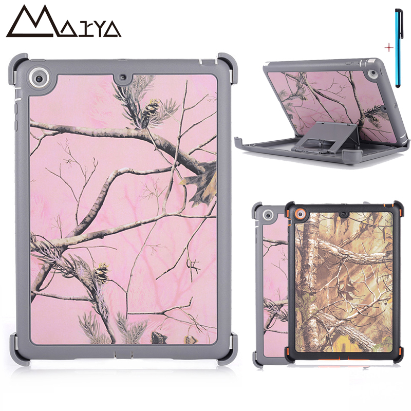 For ipad Air 1 Case Hybrid TPU+PC Cover Stand Tablet Shell Shockproof dry leaves Neutral camouflage Dazzle KickStand For iPad 5 for ipad mini4 cover high quality soft tpu rubber back case for ipad mini 4 silicone back cover semi transparent case shell skin