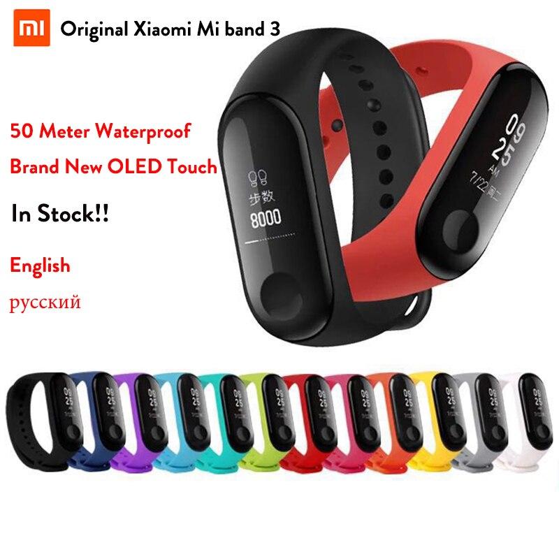 Fitness pulsera Xiao mi banda 3 versión rusa Idioma Inglés para iOS teléfono Android mi banda 3 Wristband impermeable no NFC