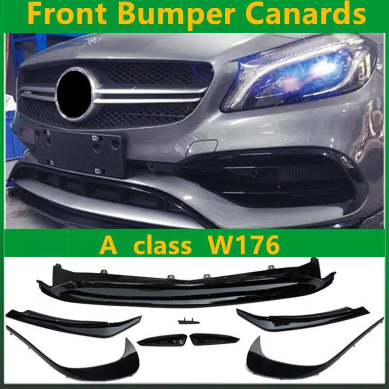 Carbon Fiber Rear Bumper Canards ABS Front Bumper Canards 8 Pieces/Set LCI A45 AMG Style for Mercedes A Class W176 LCI mercedes w176 carbon fiber rear bumper canards for benz a class a45 amg package 2012 rear air dam trimming