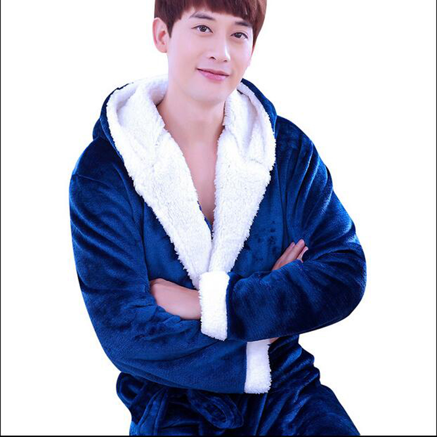 Flannel Hooded Bathrobe Men Kimono Hombre Solid Bath Robes Male Nightgown Long Sleeve Sleepwear Pajamas Lounge Homewear Men