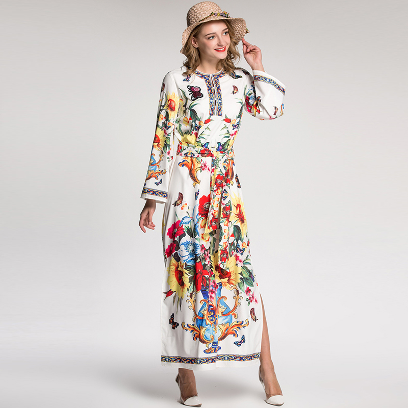Здесь продается  UNIQUEWHO Women Elegant Floral Print Belted Dress Ankle-length Long Sleeve Butterfly Embroidery Sequin Dress 2018 Spring Summer  Одежда и аксессуары