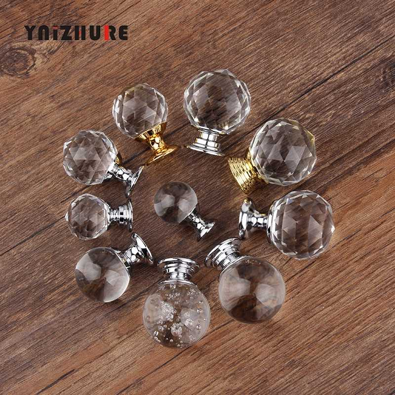 Hot 20/30mm Crystal glass ball Design Knobs Cupboard Pulls Drawer Knobs Kitchen Cabinet Handles Furniture Handle Hardware Knob
