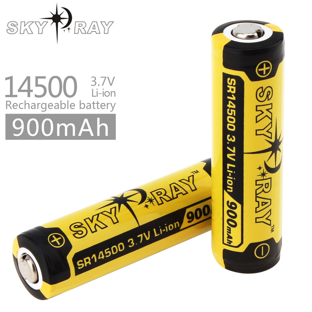 2pcs! SKY RAY 3.7V 900mAh 14500 Battery Rechargeable Li-ion Lithium Battery with Protected PCB for LED Flashlight Headlamp стоимость